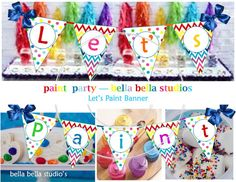 PAINT Party, ART Party BANNER - Let's Paint Art Party Banner and 2 Additional decorative pennants - Bella Bella Studios on Etsy, $6.38 CAD