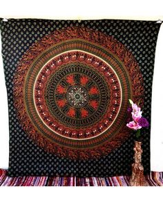 Floral Elephant Green Brown King Indian Tapestry Mandala Wall Hanging Beach Decor Hippie Bohemian