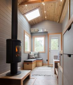 A custom tiny house built by Rewild Homes on Vancouver Island, British Columbia, Canada.