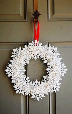 Snowflake Wreath for 2013 Christmas, Snowflake Wreath, Snowflake wreath tutorial