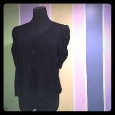 Apt. 9 Cardigan Black with cute large buttons, size medium. Short sleeved that are a bit gathered/ruffled for a bit of pizazz! Lol! In decent shape, nice transitional piece. Apt. 9 Sweaters Cardigans