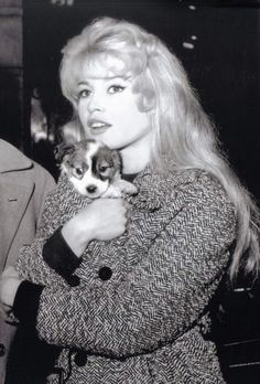 "missbrigittebardot: Brigitte Bardot holds a puppy on the set of ""En cas de malheur"", 1957 Bridgitte Bardot, Urbane Mode, Divas, Dog Training Bells, Romain Gary, Cool Dog Houses, Dog Breeds Little, Actrices Hollywood, Marlene Dietrich"