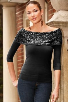Sequin off-the-shoulder sweater on sale now! #bostonproper #sale