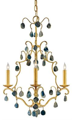 Tiny blue agates rimmed in gold adorn this fanciful chandelier in Antique Gold Leaf. A lovely combination, the blue offers an opportunity to bring color to a formal light fixture. DIMENSIONS: 17rd x 2