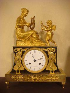 Pendule empire ''Sapho inspirée par l'Amour'',   #clock in #ormolu, #consulat…