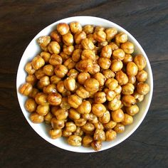 """Roasted chick peas - lots of seasoning options. Made these. They're yummy. I told Hazel they were """"pop peas"""" and she actually ate some."""