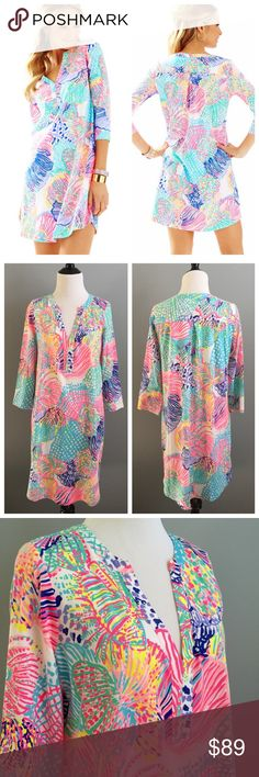 "Lilly Pulitzer Ali dress Bright & bold Lilly Pulitzer Ali dress in Roar of the Sea print. Brand new with tags & never worn.  Measurements (laying flat):  bust (underarm to underarm)- 19"" length (shoulder to bottom hem)- 34.5"" arm length (shoulder to sleeve end)- 18"" Lilly Pulitzer Dresses"