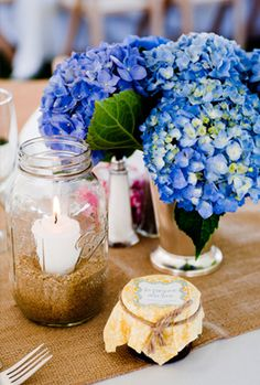 Blue Hydrangeas Centerpiece IN LOVE with the burlap table runner