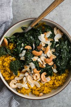 A hearty and healthy turmeric rice meal with kale cooked with garlic and coconut broth. Perfect for lunch or dinner with added protein.
