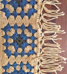 FREE SHIPPING! Autumn Afghan Special! 100% Natural Wool Fiber Granny Squares Bedspread with Fringe: Golden Wheat, Blue, and Green by HautelAudubon on Etsy https://www.etsy.com/listing/469431232/free-shipping-autumn-afghan-special-100