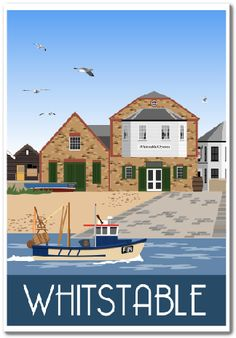 Travel poster of Oyster Restaurant on Whitstable Beach, Kent. Posters Uk, Beach Posters, Railway Posters, Art Deco Posters, Vintage Travel Posters, British Travel, British Seaside, British Isles, Whitstable Beach