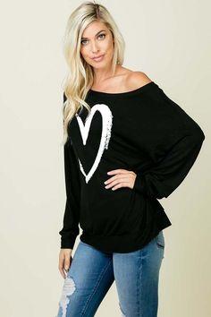 9118628ff9990 Shop Jess Lea Boutique Heart Long Sleeve Top  jessleaboutique  jesslea   jessleastyle  onlineboutique