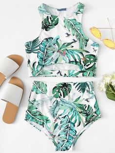 Shop Palm Leaf Print Cut Out Top With High Waist Tankini online. SHEIN offers Palm Leaf Print Cut Out Top With High Waist Tankini & more to fit your fashionable needs. Summer Bathing Suits, Girls Bathing Suits, Bikini Outfits, Cute Swimsuits, Bikini Set, Thong Bikini, Cute Outfits, High Waist, Fashion Black