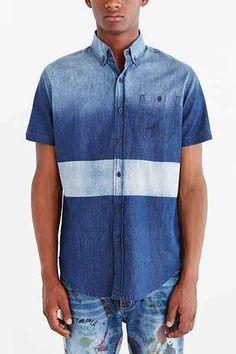 Staple Indigo Block Woven Button-Down Shirt - Urban Outfitters