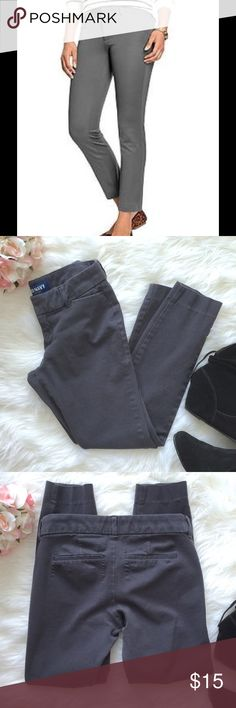 """Old Navy """"The Diva"""" pants in deep steel gray Old Navy """"The Diva"""" pants in deep steel gray.  Double hook & bar closure with interior button closure. Zip fly. Slant pockets in front; decorative faux welt pockets in back.  Four way stretch for a supremely flattering fit & feel.  Cotton/spandex blend.  Gently used, good/fair condition.  Some fading from wash/wear. And as you can see in 3rd pic the material is pulling a bit on the back pockets.  These are so super comfortable & versatile! Love…"""