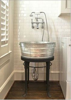 This would be the coolest laundry room sink. If I ever have a utility sink. Or a laundry room for that matter. Laundry Room Sink, Laundry Area, Basement Laundry, Basement Bathroom, Barn Bathroom, Garage Laundry, Laundry Tubs, Bathroom Ideas, Bathroom Sinks