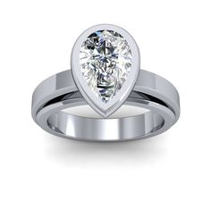 4mm  Bezel Design Cathedral Shank Solitaire Engagement Ring