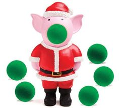 Hog Wild Holiday Pig Popper by Hog Wild. $10.99. From the Manufacturer                Just squeeze the pig's belly to launch the soft foam balls. The harder you squeeze, the farther it shoots - up to 20'. Pig Popper is air powered and safe for both indoor and outdoor play. Includes 6 soft foam balls and convenient carrying net.                                    Product Description                Sing a yuletide carol while giving Holiday Pig's belly a squeze to make him pop his...