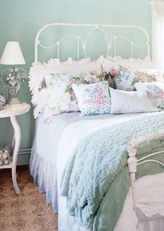 Restful Duck Egg Blue + old white iron bed. I think I see this one in my future.