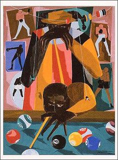 """Jacob Lawrence, [Unknown Title] """"Shooting Pool"""" (1917-2000) Tempera on hardboard  [Unknown size]"""