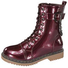 Forever Women's Alyson Burgundy Combat Boots