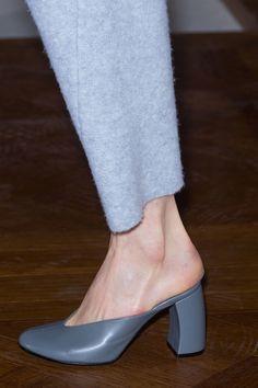 wool pants & grey mule heels #style #fashion #shoes #runway