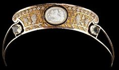 Cameo Tiara, 19th century;  cameo, gold, and brass.