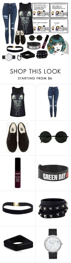 """""""Anyone fear death?"""" by xraeraex ❤ liked on Polyvore featuring Topshop, Vans, NYX, Valentino, Marni and Elwood"""