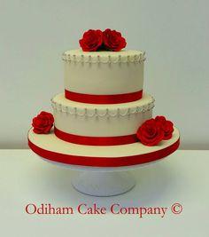 OCC - Elegant #redrose 2 tier #wedding #cake #elegant #simple #rose #occ
