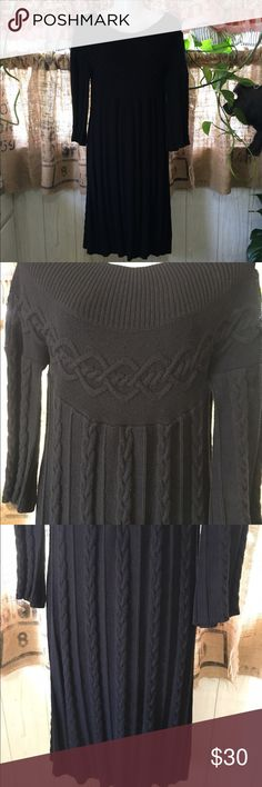 Uncle Frank sweater dress! Uncle Frank sweater dress! Size medium. Black with beautiful braided ribbed design that flows up and down the dress. Has a rounded neckline and 3/4 sleeves with the same braided ribbed design. Measures chest 17 in length 34.5 sleeve 11 in. Preowned excellent condition. uncle frank Dresses