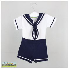 Baby boy outfit - Boy Sailor White cotton shirt and navy blue shorts - Baby boy Sailor outfit - 2 pieces  set on Etsy, $34.94
