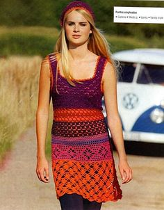 Multipattern Stripe Tank Dress free crochet graph pattern