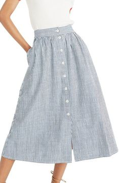 Madewell Palisade Chambray Stripe Button Front Midi Skirt available at Chambray Skirt, Denim Skirt Outfits, Capsule Wardrobe, Dress Skirt, Midi Skirt, Button Front Skirt, Hijab Style, Midi Skirts, Skirt Patterns