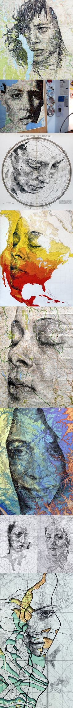 Ed Fairburn - pencil and ink portaits on topographical maps, art, illustrations, portraits