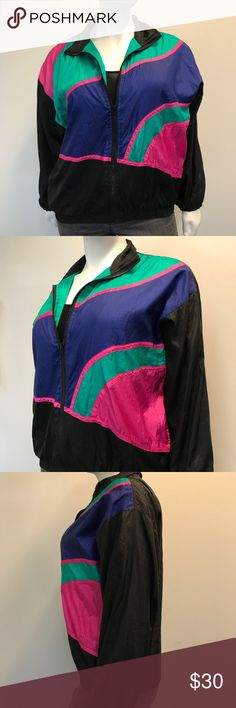 """Vintage 1980s Colorful Windbreaker Trendy vintage colorful windbreaker from the 1980s! Swishy material with soft cozy lining. Zip up style. In perfect condition. Smoke and pet free home. Runs large. Measurements taken laid flat. 27"""" armpit to armpit. 21.5"""" waist unstretched. 28"""" fully stretched. 26.5"""" long shoulder to hem. 21.5"""" long sleeves. Milani Sport II Jackets & Coats"""