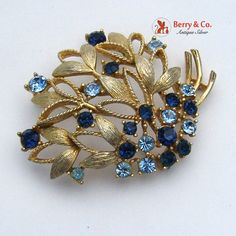 Vintage Brooch Gold Tone Blue Light Blue Glass by BerrysGems