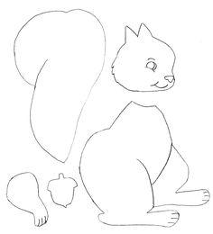 Vorlage zum Ausmalen oder zum Basteln - Eichhörnchen                                                                                                                                                     Mehr