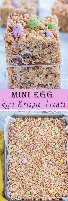 Mini Egg Rice Krispie Treats | Wishes and Dishes Easy Desserts, Delicious Desserts, Dessert Recipes, Brownie Recipes, Dessert Bars, Drink Recipes, Rice Krispie Treats, Rice Krispies, Easter Recipes