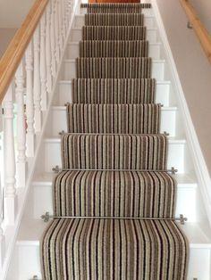 Stripe runner with brushed aluminium stair rods. Oooooooooo so many different stripe variations to pick from !!!