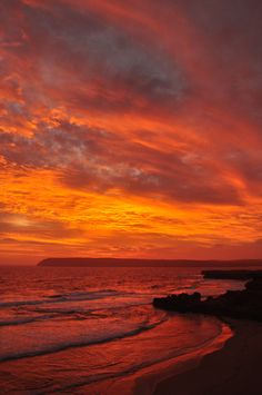 A fiery sunset over the headland at Venus Bay, South Australia