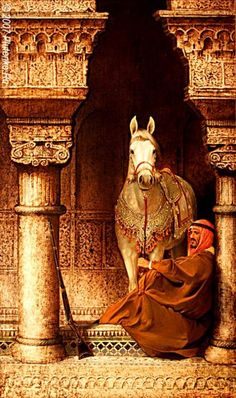Arab man with his horse.  Not an Arab fan but love the historic look of this. Really captures the culture.