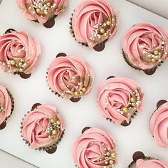 Image gallery for: gold cupcakes. Gold Cupcakes, Cupcakes Roses, Rose Cupcake, Glitter Cupcakes, Sweet 16 Cupcakes, Pink Wedding Cupcakes, Strawberry Cupcakes, Cupcakes For Weddings, Birthday Cakes