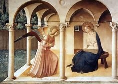 Anunciation, Fra Angelico Italy, 1438- 1447, Renaissance, comparable to Caravaggio because of light?, use of perspective, slight shadows, details in distance,