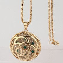 Free Shipping New Fashion Jewelry 18k Gold Plated Austrian Crystal Round Pendant Sweater Necklace Chain Jewelry For Women