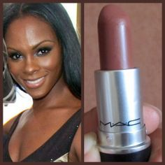 MAC Taupe or Film Noir Deep dark skin can have either a golden or burgundy undertone to it. For my deep dark golden girls, MAC's Taupe lipstick is matte and provides even coverage for those with uneven lip tones (some women may have a lighter top lip and darker bottom lip, or dark rim around both). Tabla is a beautiful, creamy, coffee-brown that will give a more natural look, and Film Noir is a dark chocolate shade for those looking for more color.
