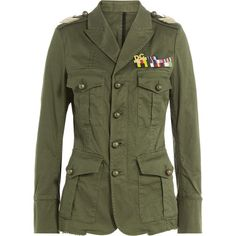 Dsquared2 Cotton Jacket (61.095 RUB) ❤ liked on Polyvore featuring outerwear, jackets, green, army green jacket, army jacket, fitted jacket, dsquared2 jacket and patch jacket
