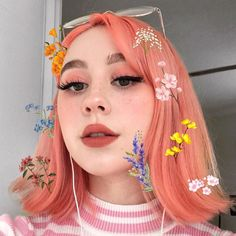 Colourful Hair and Makeup is as fresh a lil' peach and spring flowers in Neon Peach Unicorn Hair and Turkish Delight Plushie Soft Matte Lip + Lulu Matte… Lime Crime Makeup Aesthetic Hair, Aesthetic Makeup, Couple Aesthetic, Aesthetic Grunge, Peach Hair, Pink Hair, Cute Makeup, Hair Makeup, Peach Makeup