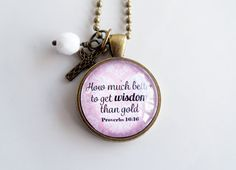 Scripture Necklace  Proverbs 16:16  Christian by OxfordBright