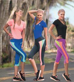 Garotas - Ref: 4740 Shirt and 4800 Capri. Size:S-M-L-XL. Material: Microfiber Nylon - Spandex. Colours: Black, Royal Blue, Mint, Salmon, Lilac, Neon Fuchsia.