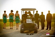 Golf cart- Just married :) bridesmaids and groomsmen    or maybe a four-wheeler